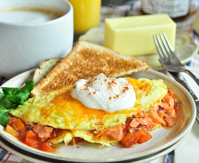 Smoked Salmon Omelette w/ Sour Cream and Salsa | Foodie With Camera